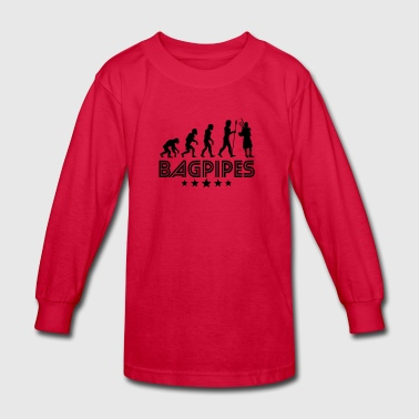 Retro Bagpipes Evolution - Kids' Long Sleeve T-Shirt