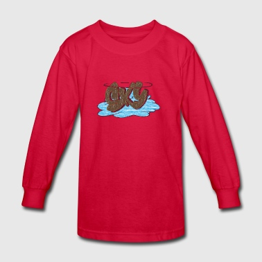 sky_graffiti_brown - Kids' Long Sleeve T-Shirt