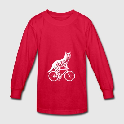 Cat Ride Bicycle shirts- Funny Cat On Bicycle - Kids' Long Sleeve T-Shirt