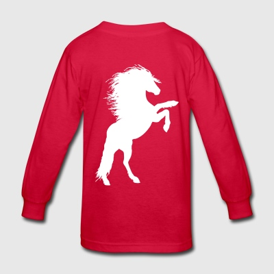 Horse fur rider hooves riding pony farm wit humor - Kids' Long Sleeve T-Shirt