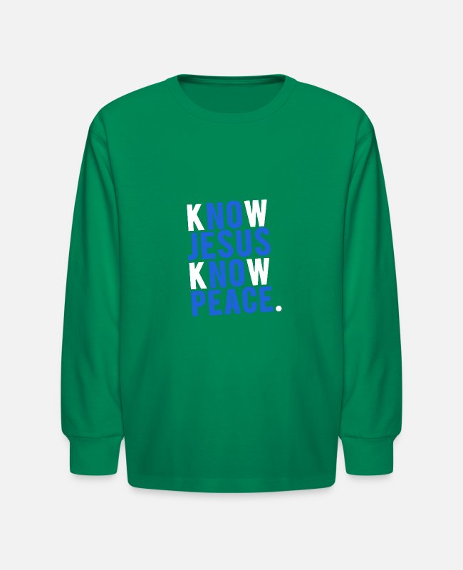 Peace For Paris Long-Sleeved Shirts - know jesus know peace merch - Kids' Longsleeve Shirt kelly green