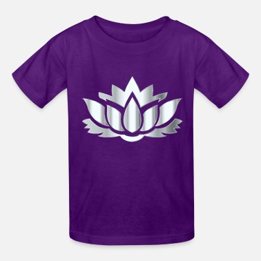 Silver Silver Lotus Flower Silhouette No Background - Kids' T-Shirt