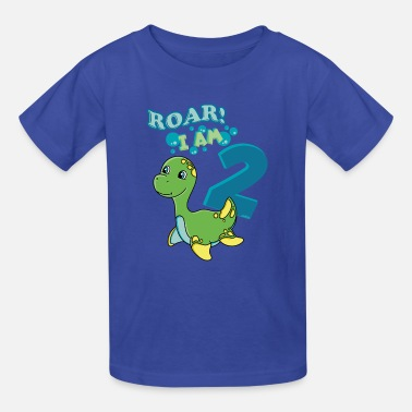 9e2bfdad 2nd Birthday T-Shirt Kids Cute Dinosaur Toddler Premium T-Shirt ...