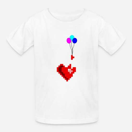 Pixel T-Shirts - Pixel with heart - Kids' T-Shirt white