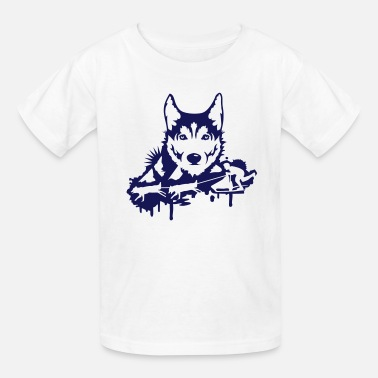 Sled-heads Dog racing with Husky Head  - Kids' T-Shirt