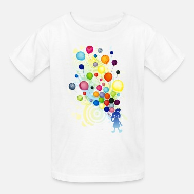 Girl_With_Colorful_Balloo - Kids' T-Shirt