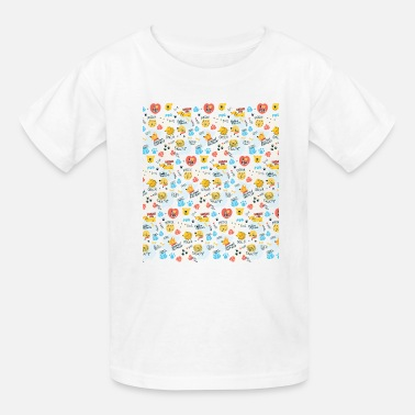 Heart Bre Cute Dogs Patterns with different breed and elemen - Kids' T-Shirt