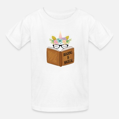 Reading Reading is magical Cute Unicorn Face Book Lovers - Kids' T-Shirt