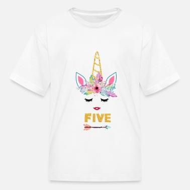 b523e0fb8 Little-girl-unicorn-shirt Unicorn girl/Unicorn 5th Birthday shirt - Kids&.  Kids' T-Shirt