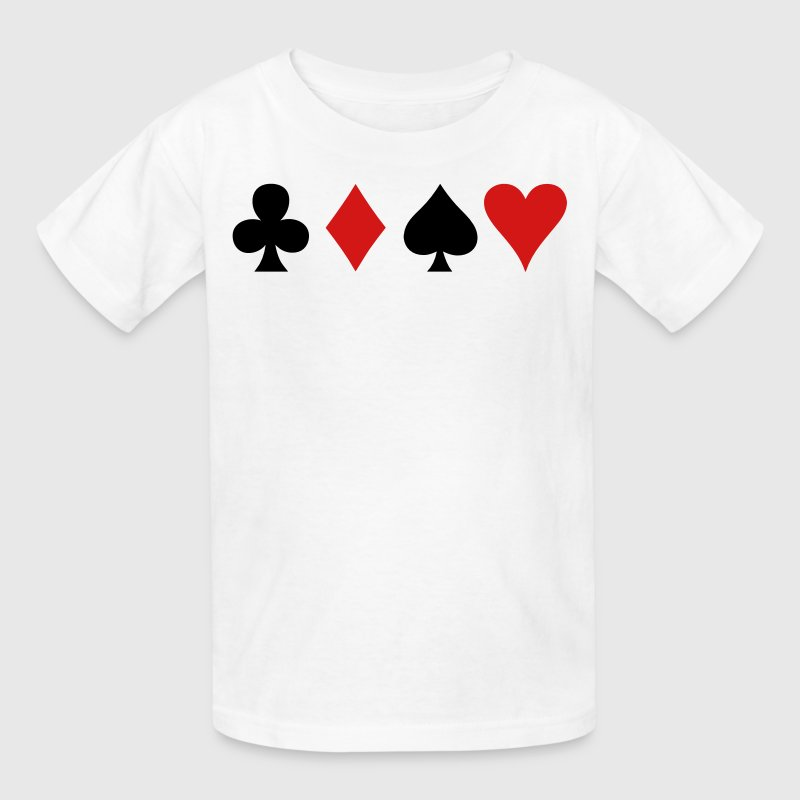all four poker spade diamond club and heart suits in a row - Kids' T-Shirt
