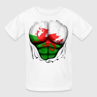 Bulge Football Wales Flag Ripped Muscles, six pack, chest t-shirt - Kids' T-Shirt