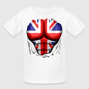 Bulge Football UK Flag Ripped Muscles, six pack, chest t-shirt - Kids' T-Shirt
