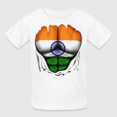 India Flag Ripped Muscles, six pack, chest t-shirt - Kids' T-Shirt