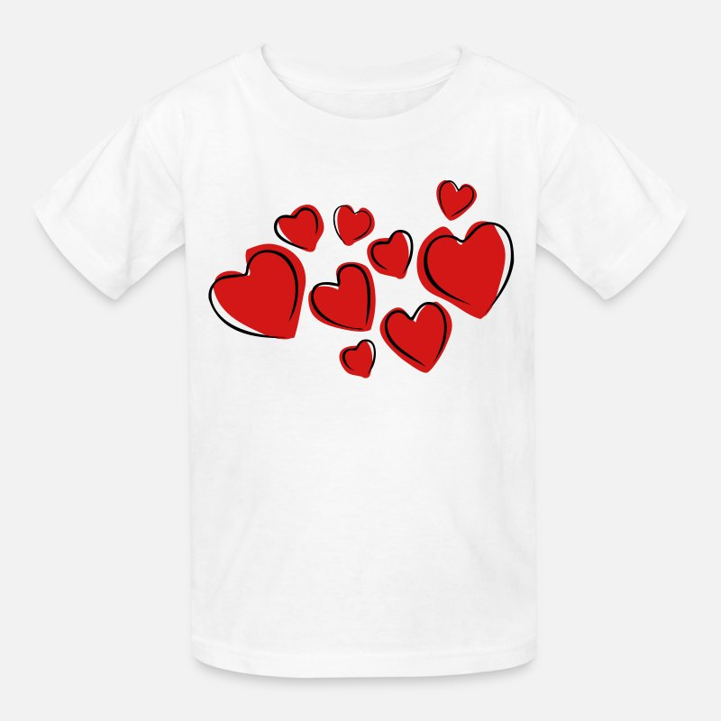 Book T-Shirts - Love Hearts Floating (Drawing) - Kids' T-Shirt white