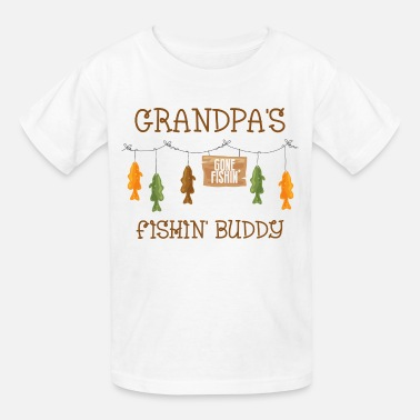 Gone Illustration Gone Fishing Line Grandpa - Kids' T-Shirt