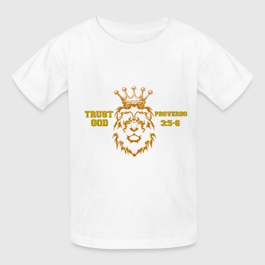 Trust God Lion with Crown - Kids' T-Shirt