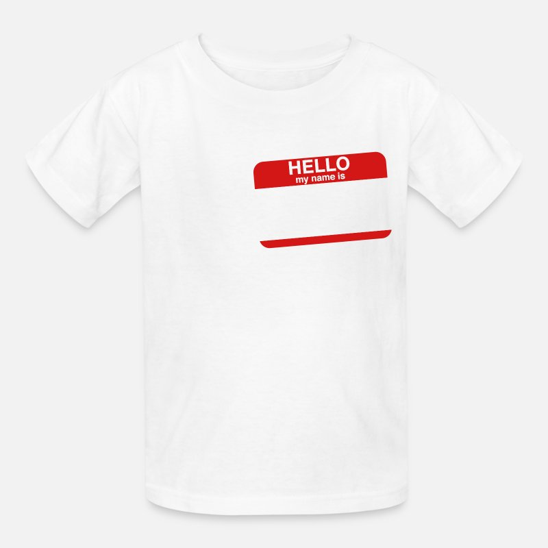 "Cool T-Shirts - "" HELLO MY NAME IS _____  "" - Kids' T-Shirt white"