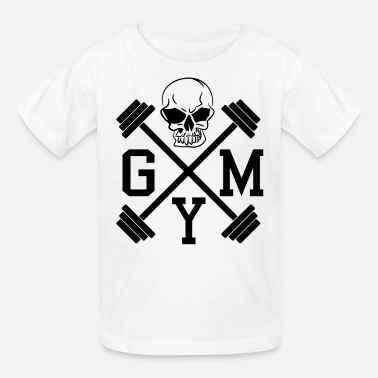 Barbell Weights Muscle Gym Skull Dumbbell Barbell Weight Athletics 1c - Kids' T-Shirt