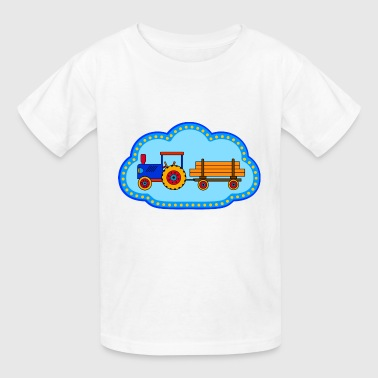 Blue Tractor blue toy tractor with trailer - Kids' T-Shirt