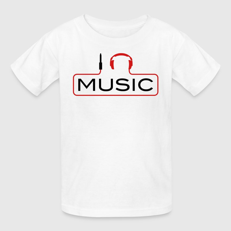 I love music plug headphones sound bass beat catch cable music i love techno minimal house club dance dj discjockey electronic electro - Kids' T-Shirt