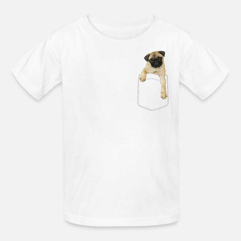 Pug T-Shirts - Dog in pocket - Kids' T-Shirt white