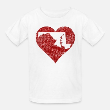 Maryland State Silhouette Maryland Heart Clothing Apparel Shirts - Kids' T-Shirt