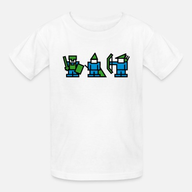 Wizards And Warriors Knight, Wizard, Archer - 8Bit RPG Characters - Kids' T-Shirt