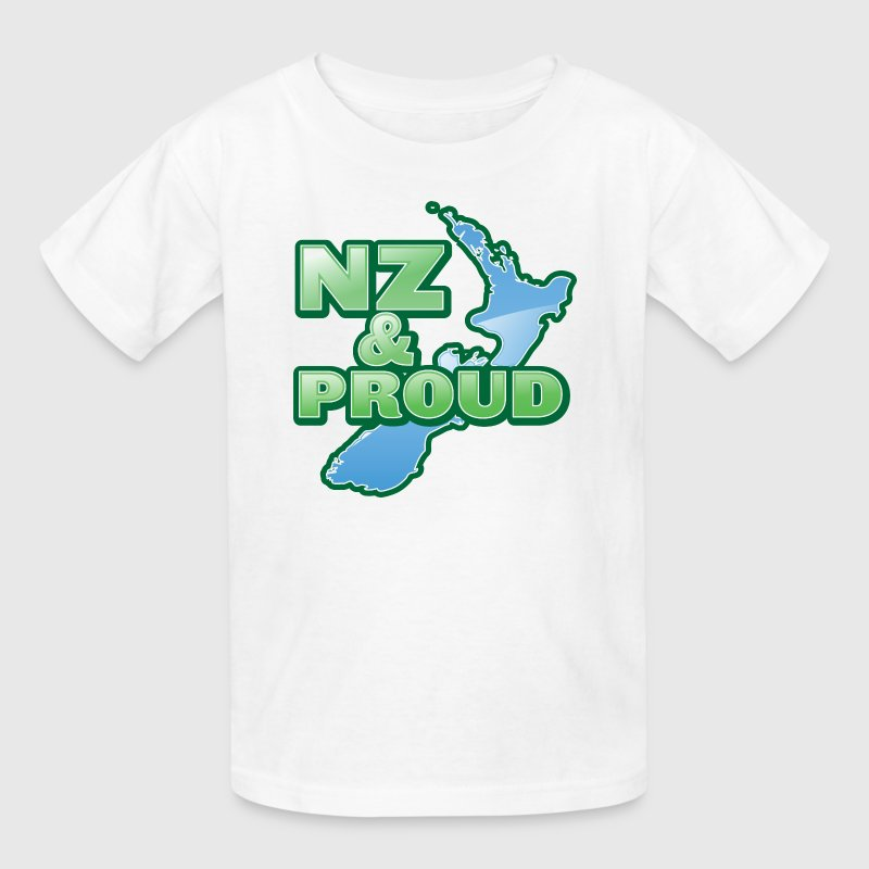 NZ New Zealand and proud with kiwi map - Kids' T-Shirt