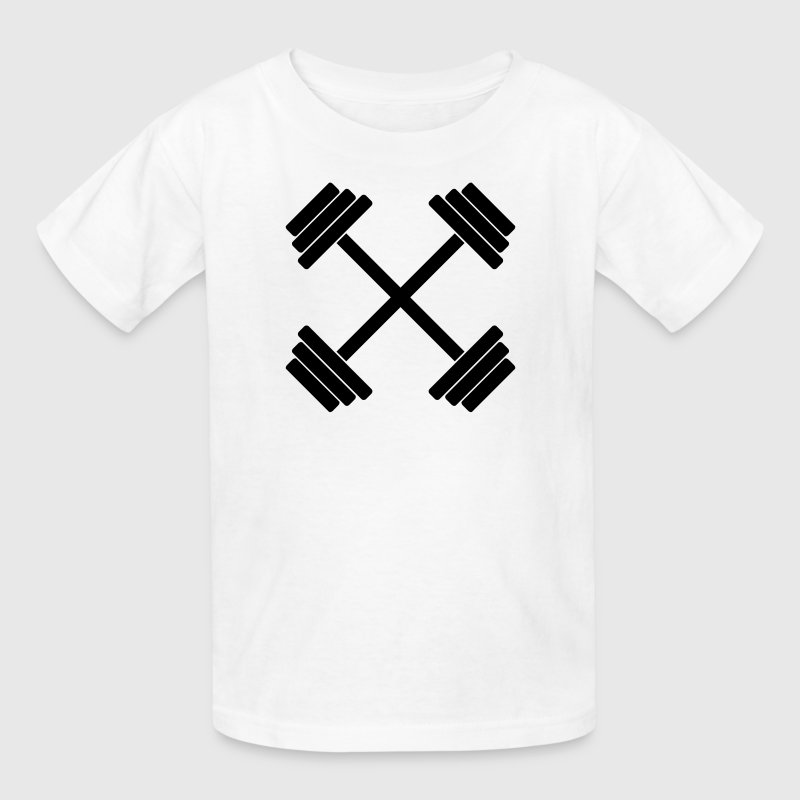 Gym Crossed Dumbbell Barbell Weight Athletics 1c - Kids' T-Shirt