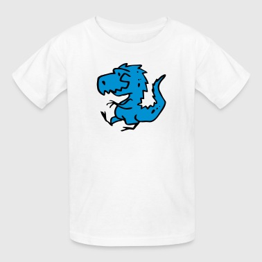 Blue Cartoon Cool Dragon Drawing - Kids' T-Shirt