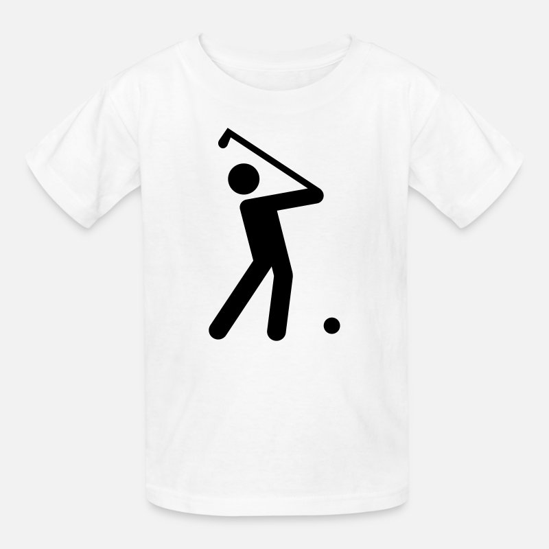 Ball T-Shirts - Golf Stickman  - Kids' T-Shirt white