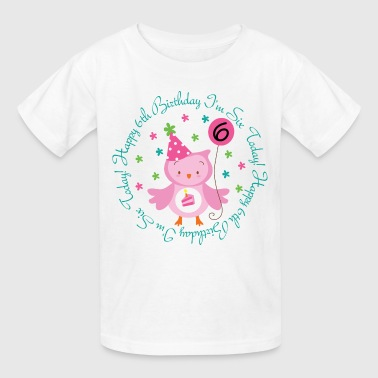 6th Birthday Girl's Owl - Kids' T-Shirt