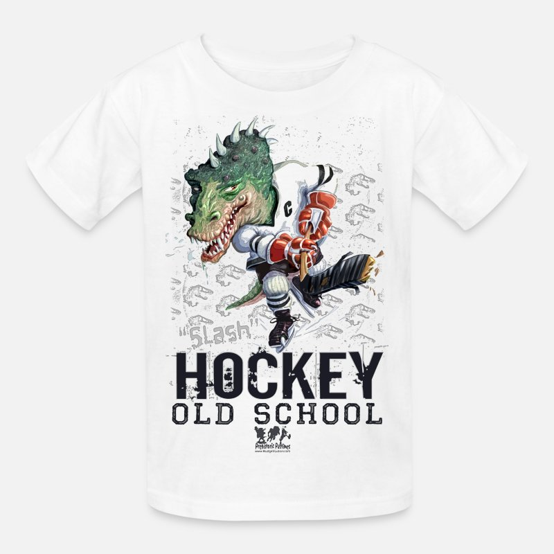 Hockey T-Shirts - Dino Hockey - Kids' T-Shirt white