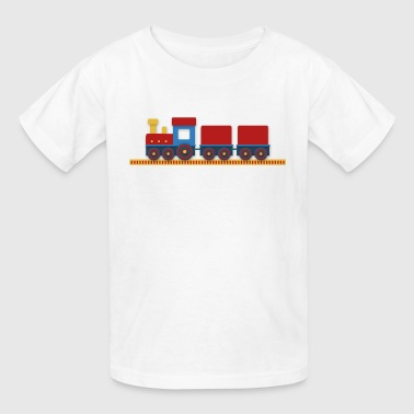colorful train with cargo on railway - Kids' T-Shirt