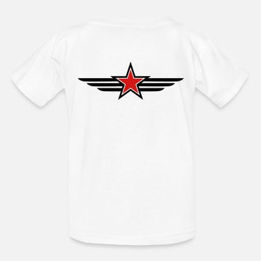 Red Star SHARP shape red and BLACK star outlined with wings - Kids' T-Shirt