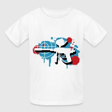 A paintball gun with a crosshair as a graffiti - Kids' T-Shirt