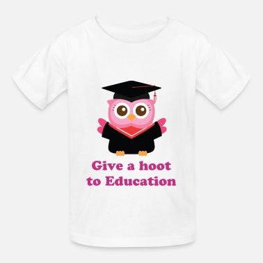 Pink Graduation cute pink owl with graduate hat - Kids' T-Shirt