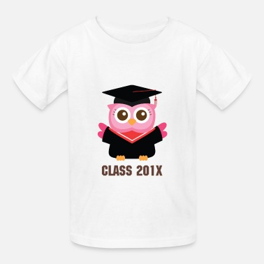 Cute Graduation cute pink owl with graduate hat - Kids' T-Shirt