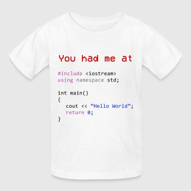 Hello world First program in Computer science - Kids' T-Shirt