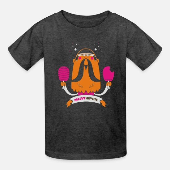 Meaty T-Shirts - Meat Hippie - Kids' T-Shirt heather black