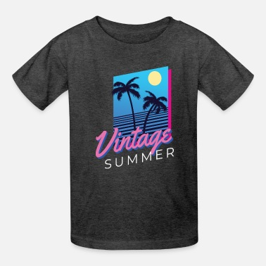 Vintage Summer Beach Palm Trees Hot - Kids' T-Shirt