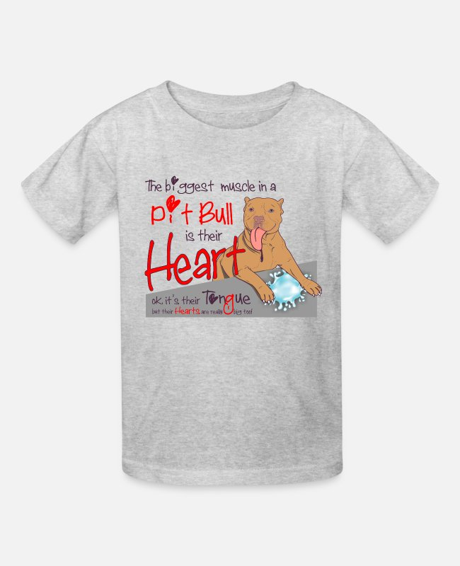 Heart T-Shirts - Pitbull Heart is the biggest muscle - Kids' T-Shirt heather gray