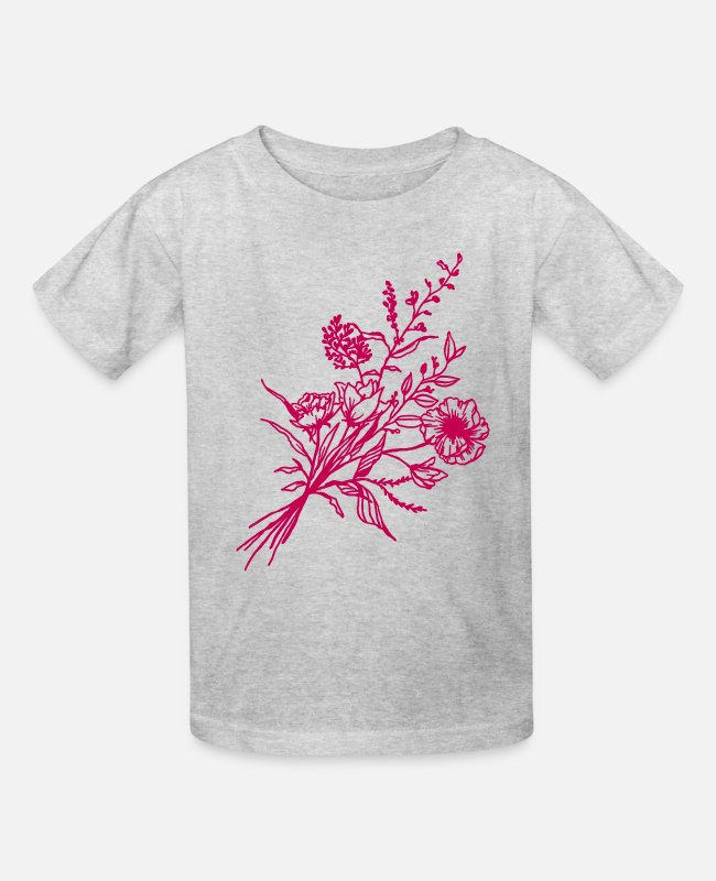 Line T-Shirts - Hand drawn flower bouquet in vintage style - Kids' T-Shirt heather gray