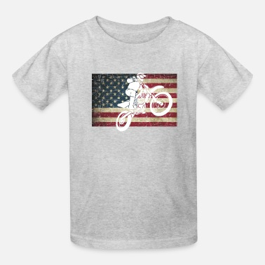 Bike Dirt Bike on Distressed Flag in Color - Kids' T-Shirt