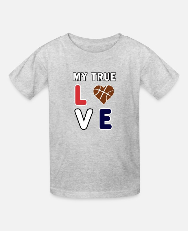 Christmas T-Shirts - Basketball My True Love kids Coach Team Gift. - Kids' T-Shirt heather gray