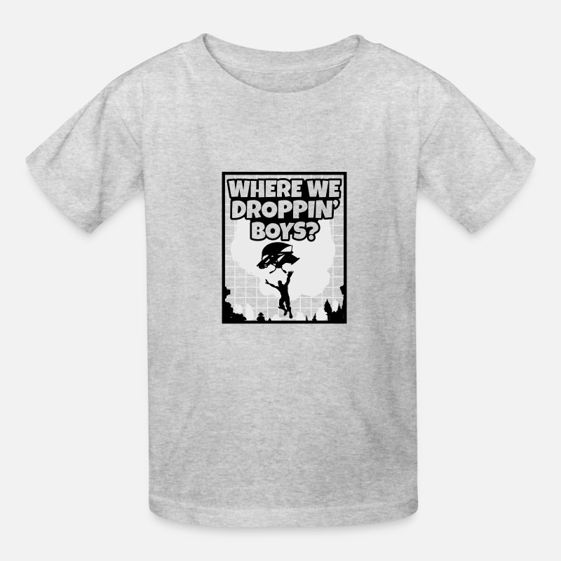 Console T-Shirts - Where We Droppin Boys! - Kids' T-Shirt heather gray
