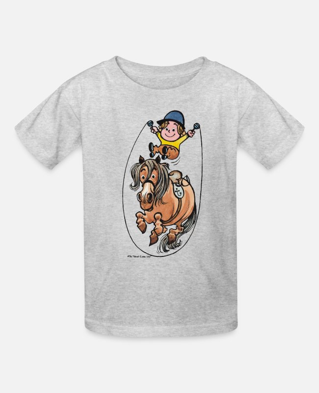 Drawing T-Shirts - Thelwell Funny Rope Jumping Horse And Rider - Kids' T-Shirt heather gray