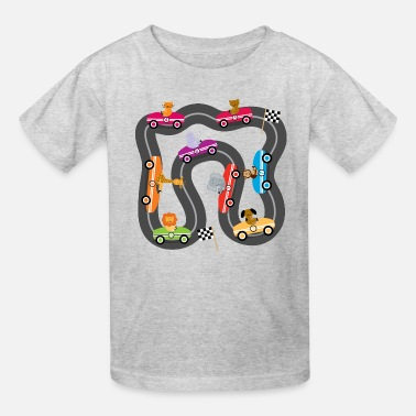 Race Track Race Car Racing Track Cute Animals - Kids' T-Shirt