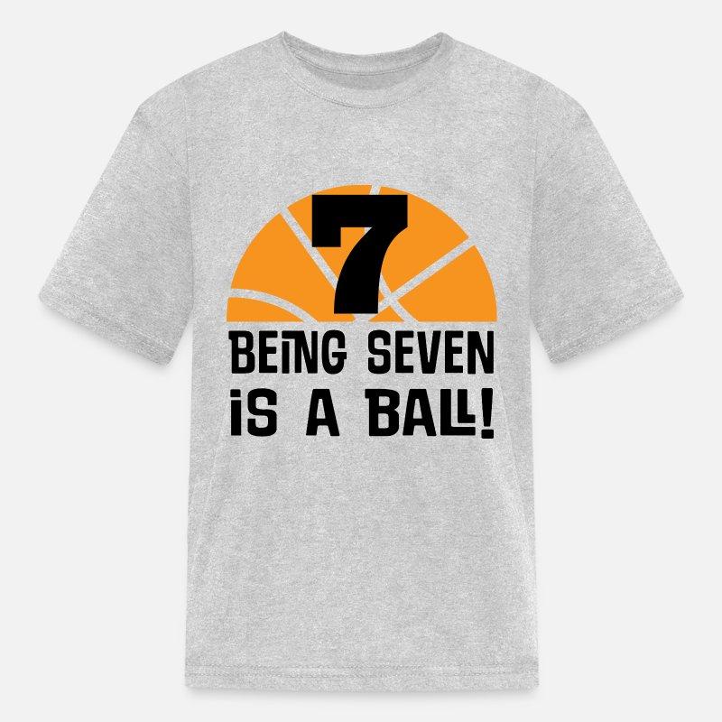 Kids T Shirt7th Birthday Boys Basketball Sports 7 Year Old Shirts