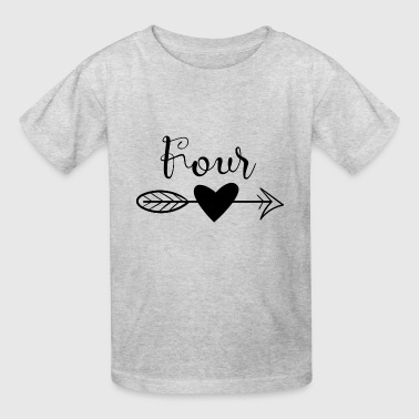Four with heart and arrow birthday - Kids' T-Shirt